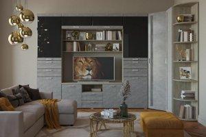 Гостиная Лотос угловая Дуб-Бетон - Мебельная фабрика «САНТАН»