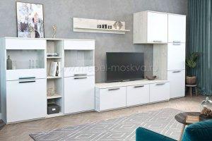 Гостиная Napoli Крафт белый/белый глянец - Мебельная фабрика «Мебель-Москва»
