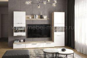 Гостиная Napoli Крафт серый/белый глянец - Мебельная фабрика «Мебель-Москва»