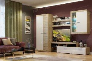 гостиная Соната 1 Сонома - Белый глянец - Мебельная фабрика «Памир»