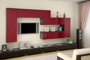 Гостиная стенка 13 красно-коричневая - Мебельная фабрика «SaEn»