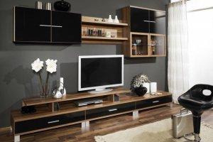 Гостиная стенка черный с деревом - Мебельная фабрика «Мебельная мастерская»