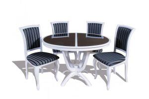 Обеденная группа Камелия ОС со стеклом и стулья СМ 10 - Мебельная фабрика «ТехКомПро»