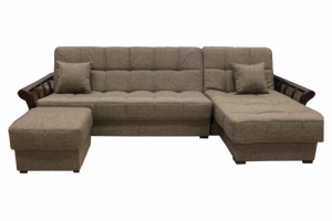 Коричневый диван с оттоманкой и пуфом - Мебельная фабрика «Viktoria»