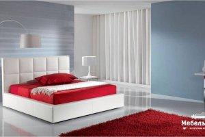 кожаная кровать с прямой вертикальной спинкой Эврика - Мебельная фабрика «МебельЛайн»