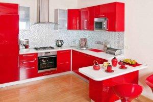 Красная кухня с островом - Мебельная фабрика «ARC мебель»