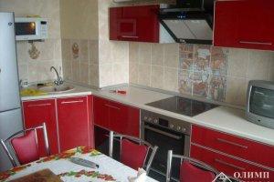Красная кухня угол Екатерина 02 - Мебельная фабрика «ОЛИМП»