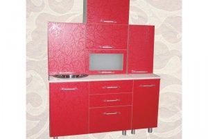 Красная прямая кухня 1,5 - Мебельная фабрика «Александра»