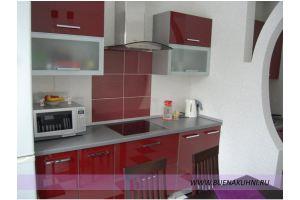 Красная прямая кухня - Мебельная фабрика «Buena»