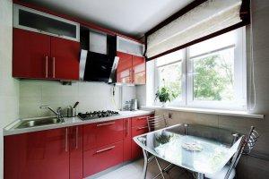 Красная прямая кухня - Мебельная фабрика «Lakma»