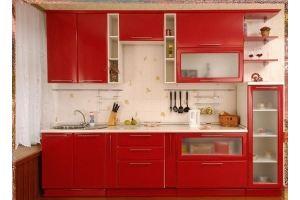 Красная прямая кухня - Мебельная фабрика «ARC мебель»