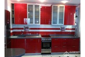 Красная угловая кухня Мелания 03 - Мебельная фабрика «ОЛИМП»