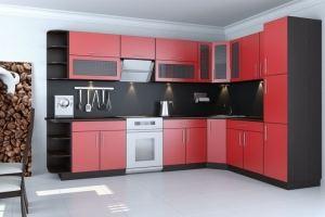 Красная угловая кухня 3 - Мебельная фабрика «Вертикаль»