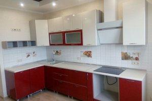 Красно-белая угловая кухня - Мебельная фабрика «ДОН-Мебель»