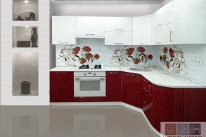 Красно-белая угловая кухня - Мебельная фабрика «Актуаль-М»
