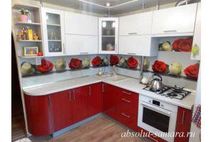Красно-белая угловая кухня - Мебельная фабрика «Абсолют»