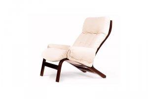 Кресло Альбано  с подлокотниками эко-кожа крем, каркас вишня - Мебельная фабрика «Мебелик»