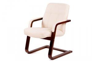 Кресло Мичиган-1 с подлокотниками ткань крем, каркас вишня - Мебельная фабрика «Мебелик»
