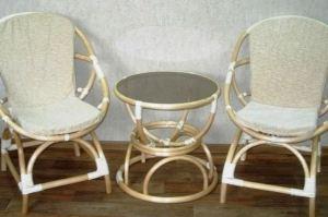 Кресло Ракушки и стол Песочные часы светлые - Мебельная фабрика «Плетеная Мебель»