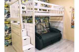 Кровать-чердак деревянная детская - Мебельная фабрика «Массив»