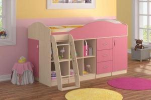 Кровать-чердак розовая 2 - Мебельная фабрика «Вертикаль»