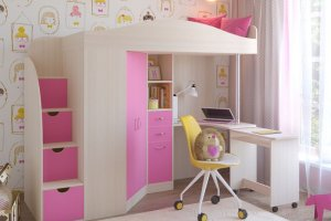Кровать-чердак Юниор 4 дуб - Мебельная фабрика «ЯРОФФ»