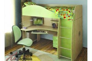Кровать-чердак зеленая Оскар - Мебельная фабрика «Меркурий»
