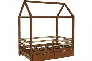 Кровать-домик из дерева ФАНТАЗИЯ с ящиками - Мебельная фабрика «Доброе дерево»