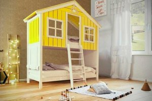 Кровать-домик Лесная хижина двухъярусная - Мебельная фабрика «Mom'sLove»