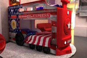 Кровать двухъярусная Паровоз Америка - Мебельная фабрика «Red River»