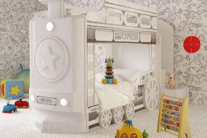 Кровать двухъярусная Паровоз белый - Мебельная фабрика «Red River»
