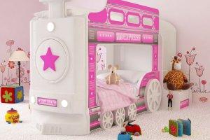 Кровать двухъярусная Паровоз розовый - Мебельная фабрика «Red River»