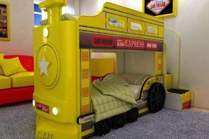 Кровать двухъярусная Паровоз желтый - Мебельная фабрика «Red River»