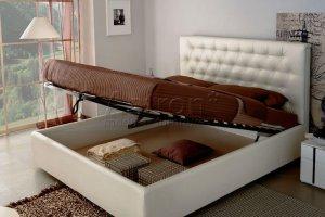 Кровать двуспальная с подъемным механизмом из кожзам  As150.031 - Мебельная фабрика «Астрон»