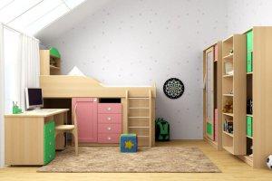 Кровать-горка в детскую Радуга 3 - Мебельная фабрика «Ресурс-мебель (Lasort)», г. Кирово-Чепецк