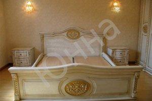 Кровать из дерева с резными элементами - Мебельная фабрика «ЮННА»