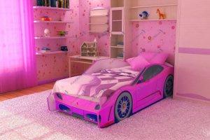 Кровать-машина Феррари Эконом (Розовая) С - Мебельная фабрика «Red River»