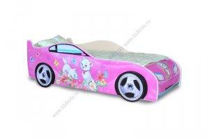 Кровать машинка для девочки Китти розовая - Мебельная фабрика «Тридевятое царство»