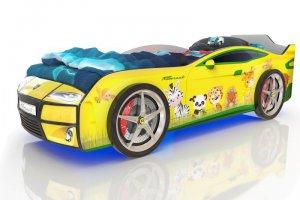 Кровать-машинка Romack Kiddy желтая - зверята - Мебельная фабрика «Romack Möbel»