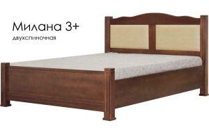 Кровать Милана 3+ из массива сосны со вставками из экокожи - Мебельная фабрика «Массив»