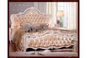 Кровать резная с мягким подголовником - Мебельная фабрика «Эксклюзив»