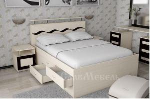 Кровать с комодом Волна 3 - Мебельная фабрика «СлавМебель»