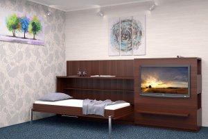 Кровать с мобильной панелью для телевизора - Мебельная фабрика «Анталь»