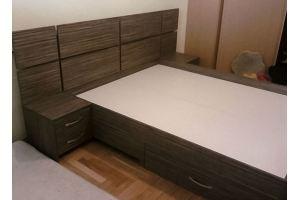 Кровать спальная с ящиками и изголовьем - Мебельная фабрика «Santana»