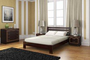 Кровать Вероника из массива сосны орех темный - Мебельная фабрика «Bravo Мебель»