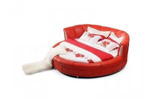 Круглая красная кровать 05 - Мебельная фабрика «Эльнинио»
