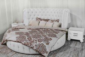 Круглая кровать Честер Люкс в каретной стяжке - Мебельная фабрика «Уют»