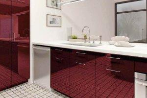 Кухня акрил бордовый металлик alt25 - Мебельная фабрика «ЮММА»