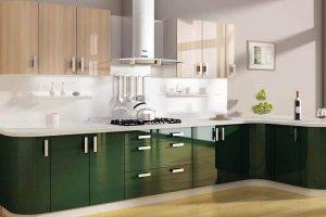 Кухня акрил темно зеленый al23 - Мебельная фабрика «Вся Мебель»