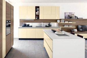 Кухня акрил жасмин 14uv с островом - Мебельная фабрика «Вся Мебель»